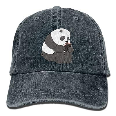 ElephantAN Men Women Panda Adjustable Vintage Baseball Caps Washed Cowboy Dyed Denim Hat Unisex