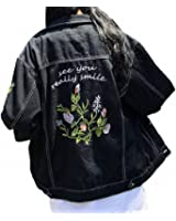 Hiuwa Womens Denim Jacket Jeans Coat Cowboy Boyfriends Embroidery Black Denim Jacket Women Casual Long Sleeve