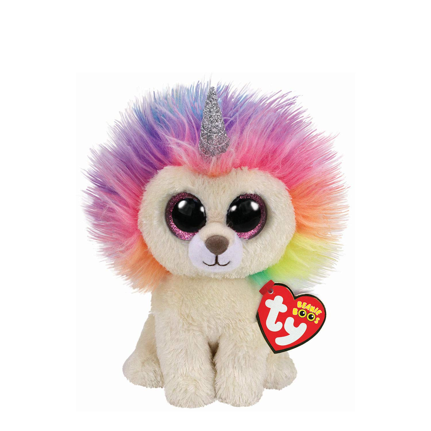 Claire s Girl s Ty Beanie Boo Small Layla the Rainbow Lion Soft Toy ... d2551d165bf