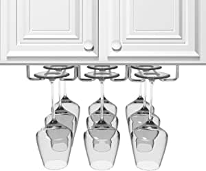 Sorbus Under Cabinet Wine Glass Rack and Stemware Holder – 3 Rows Holds up to 9 of Your Most Delicate Glassware