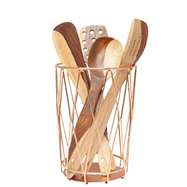 Mothers Day Gifts - GoCraft Handmade Cutlery Holder/Organizer for your Utensils, Spatula, Spoons, Silverware - Copper Finish