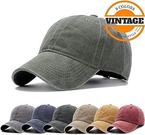 Unisex Classic Vintage Washed Distressed Baseball Cap Adjustable Low  Profile Twill Plain Cotton Dad Hat (Multiple Colour) e807b51f4582