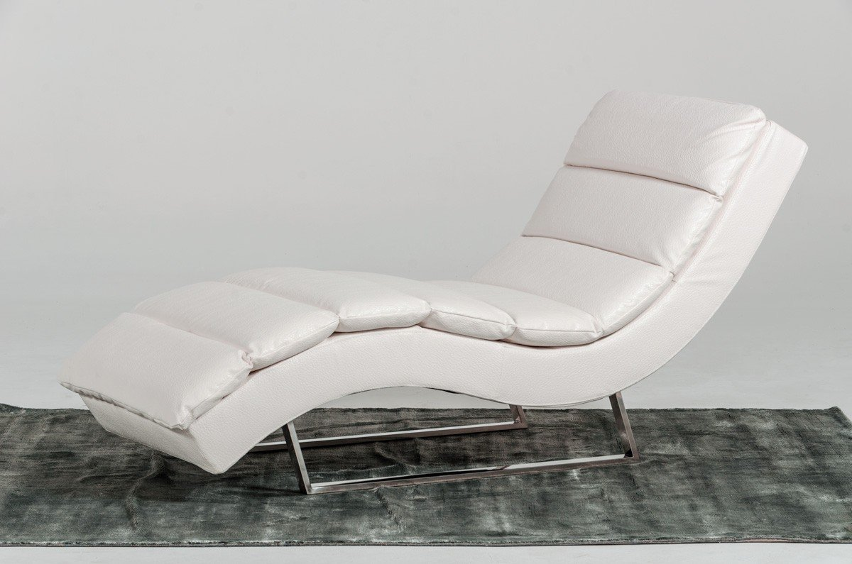 Limari Home Izzy Collection Modern Leatherette Upholstered Living Room Chaise, Standard, White by Limari Home