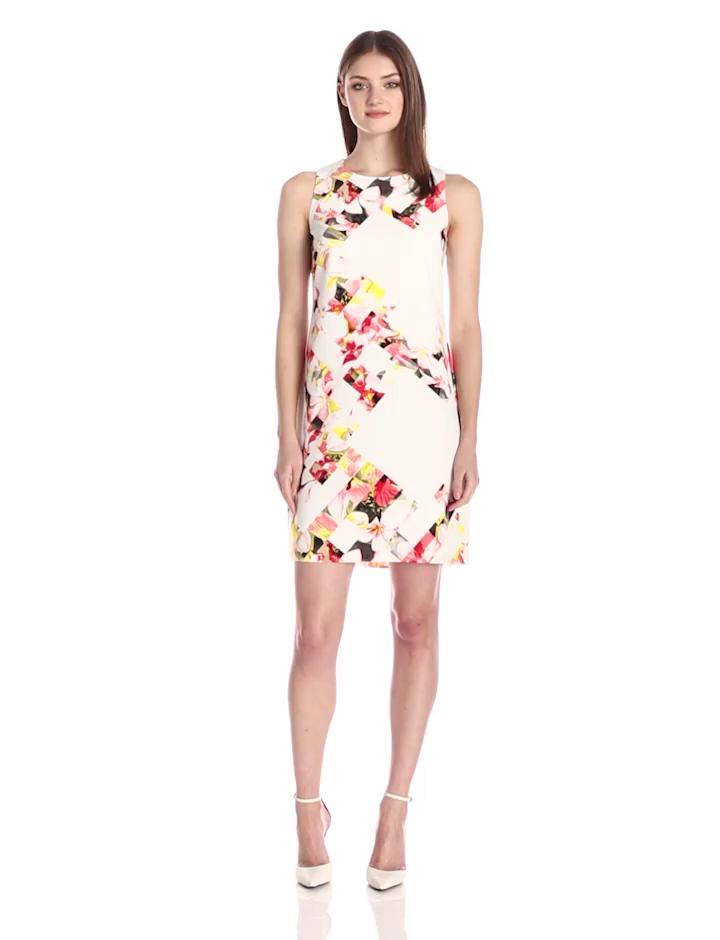 Vince Camuto Women's Sleeveless Broken Photo Floral Shift Dress, Taffy Pink, 4