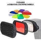PHOLSY Rejilla de Panal Universal Flash Gel Kit de filtro de iluminación con corrección de color para Canon, Nikon, Nissin, Olympus, Pentax, Sony, Yongnuo, Godox Flash etc.