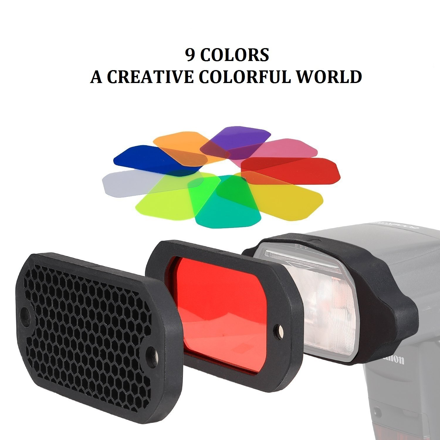 PHOLSY Honeycomb Grid Universal Flash Gels Lighting Filter Kit with Color Correction for Canon Nikon Sony Godox Yongnuo Camera Flash Light