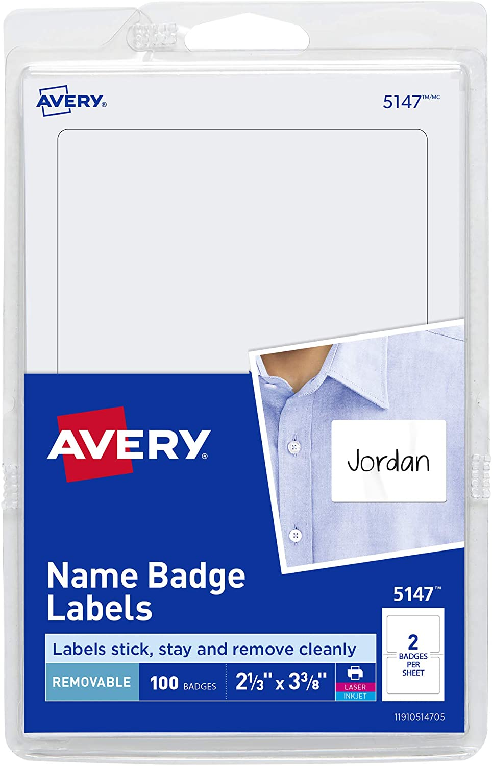 "Avery Personalized Name Tags, Print or Write, 2-1/3"" x 3-3/8"", 100 Adhseive Name Tags, (5147)"