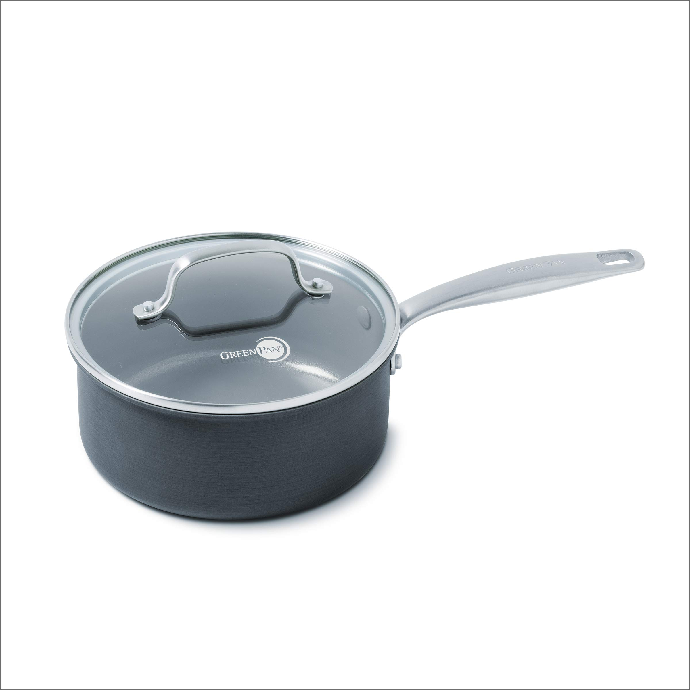 GreenPan Chatham Ceramic Non-Stick Covered Saucepan, 3 quart, Grey by GreenPan