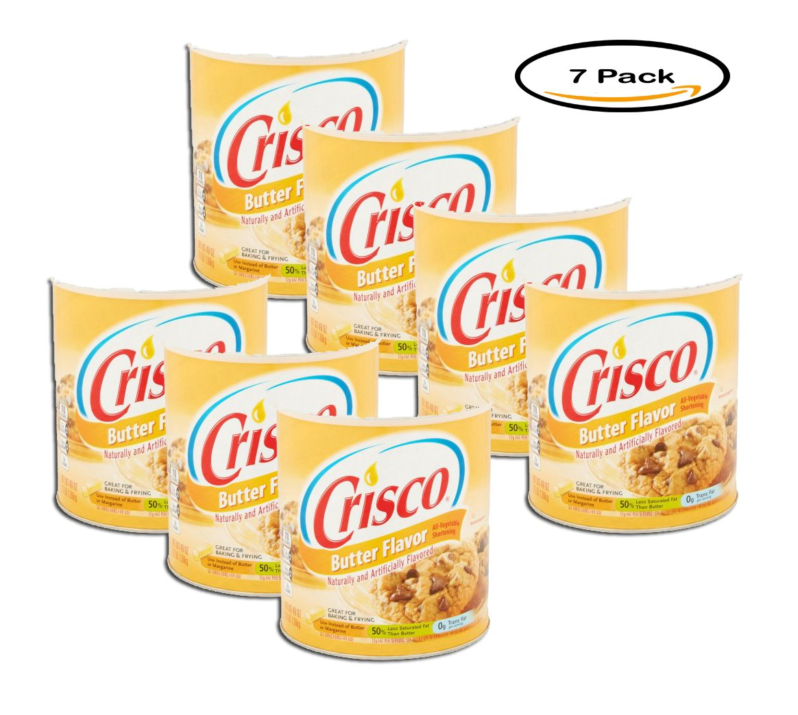 PACK OF 7 - Crisco Butter Flavor All-Vegetable Shortening, 48 oz