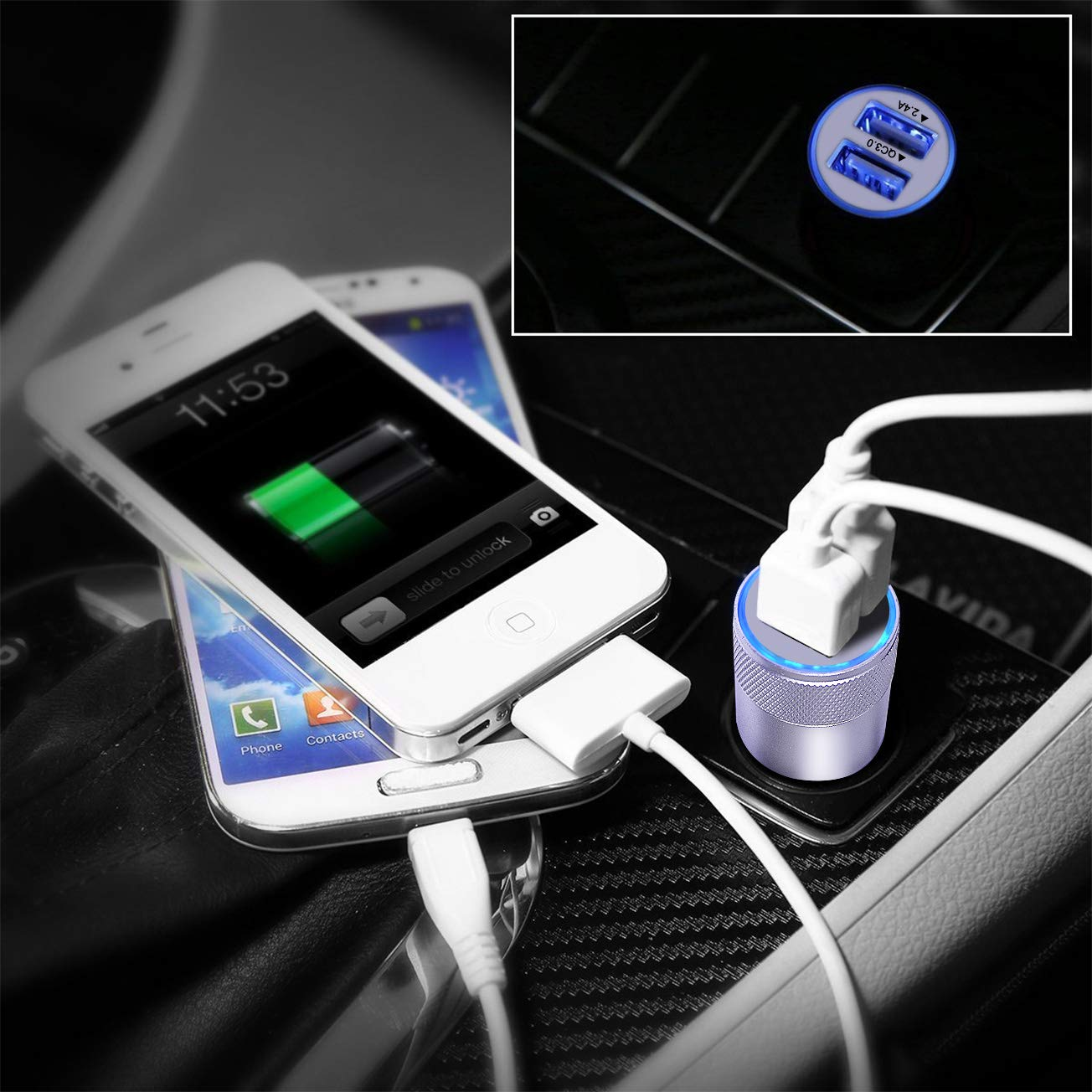 Car Charger Quick Charge 3.0,2 Pack Sicodo Dual USB Car Charger 3.4A Compatible with Google Pixel Nexus,HTC 10,LG V6// V20,Galaxy Note8//S8//S8+//S7//S6//Edge//Plus//Note 5//4and More