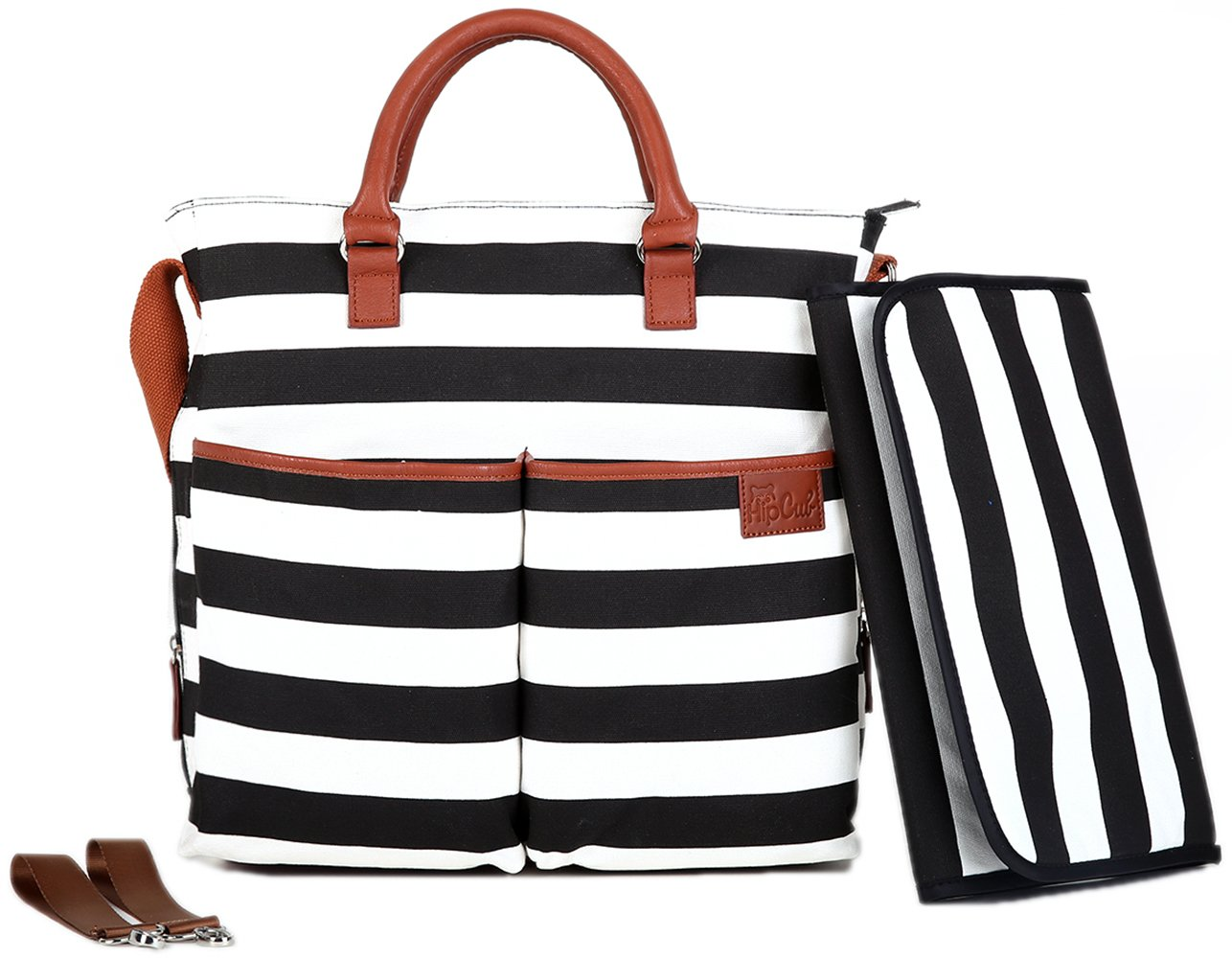 Black And White Stripe Diaper Bag By Hip Cub