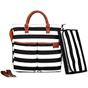 Diaper Bag by Hip Cub - Baby Changing Pad - Black/White Stripe W/Cute Tan Trim