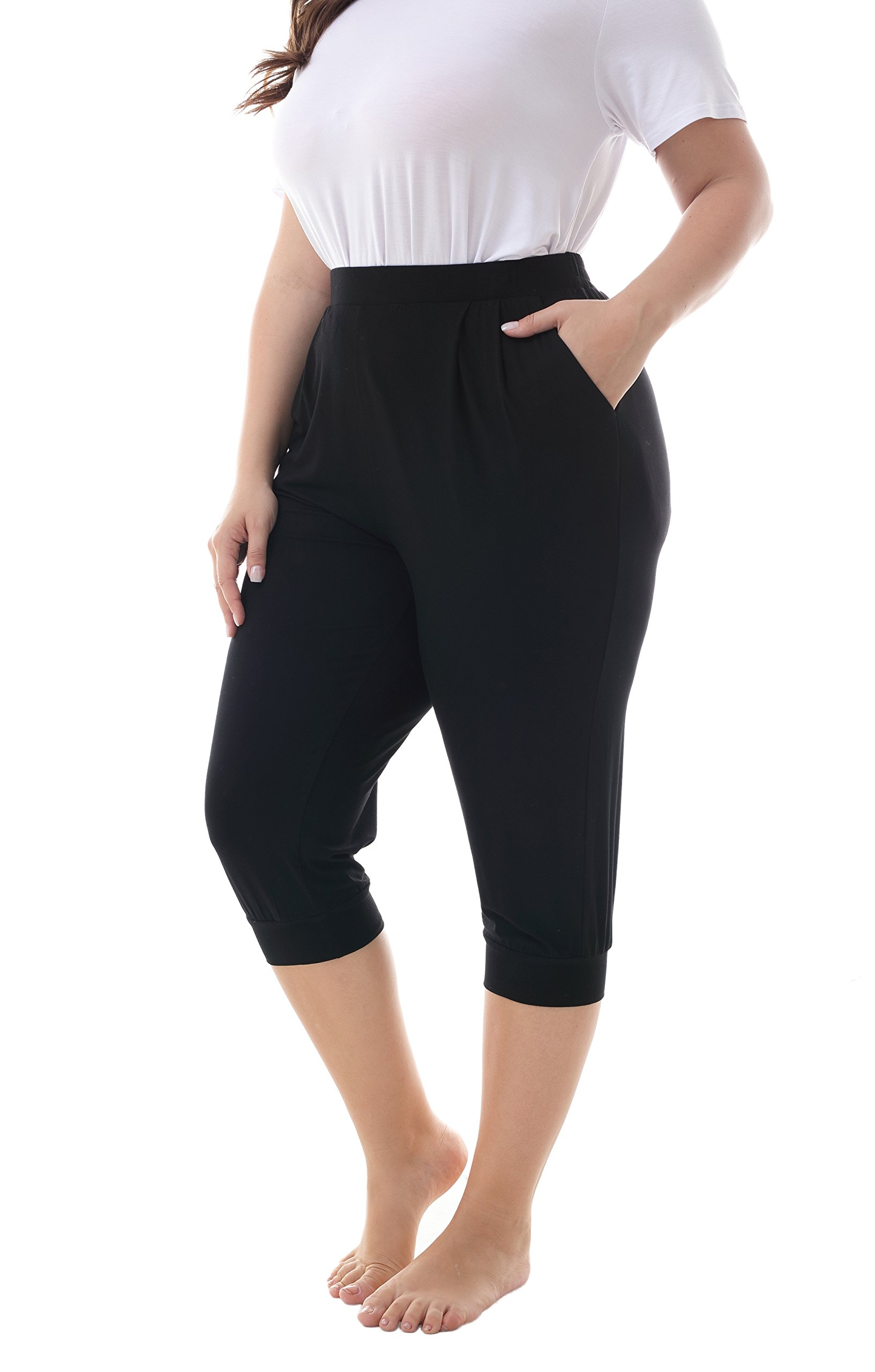 ZERDOCEAN Women's Plus Size Casual Stretchy Relaxed Lounge Capri Black 1X