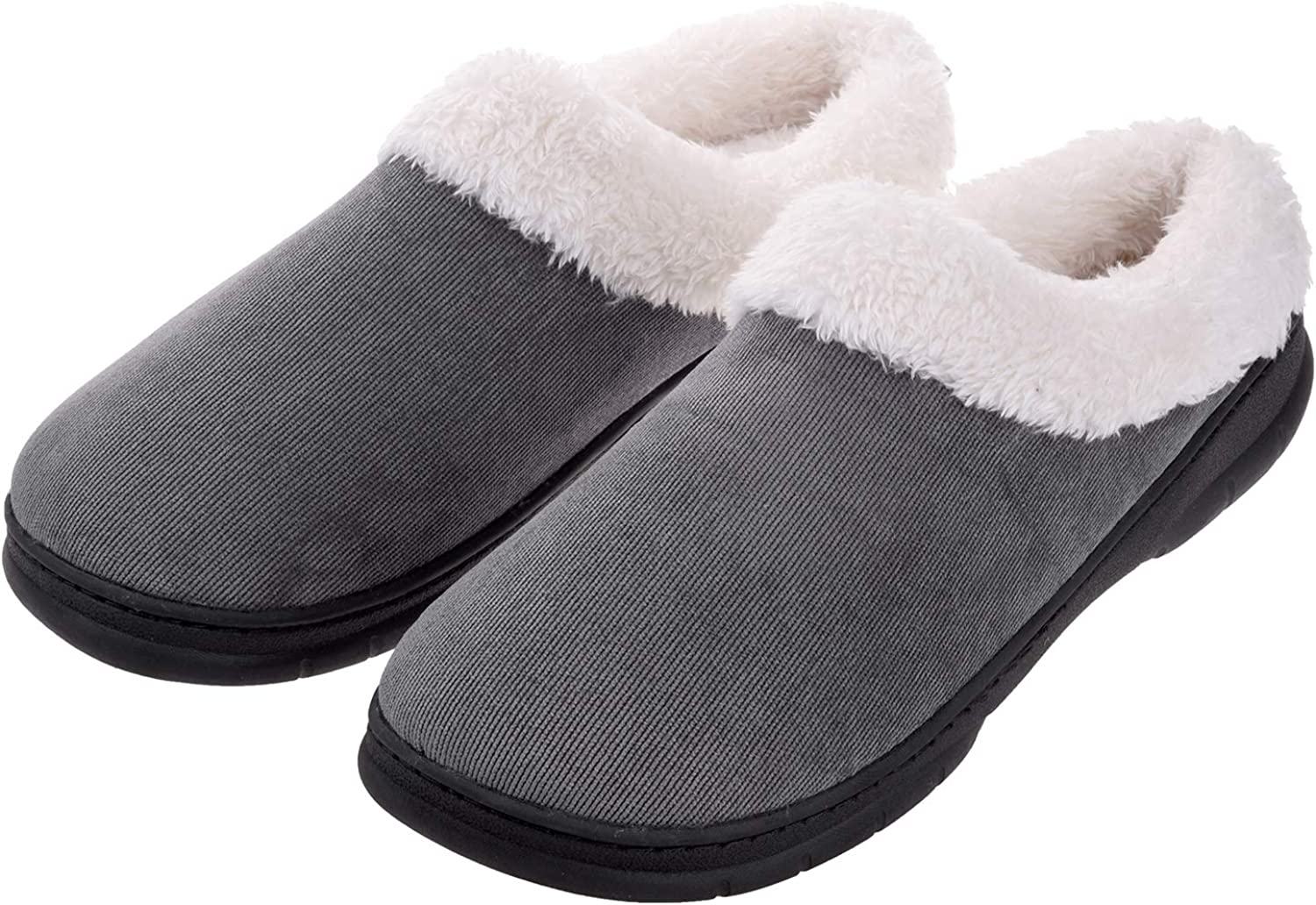Men's Slippers House Shoes Fuzzy Fluffy Clog Slip On Memory Foam Indoor Outdoor