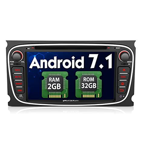 Pumpkin Android 7.1 Autoradio GPS con 2GB Ram 32GB Rom para Ford Focus Mondeo, Negro