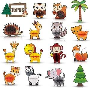 Monkey Home - Juego de 15 centros de mesa 3D con diseño de animales de bosque y selva, para decoración de fiestas de cumpleaños: Amazon.es: Juguetes y juegos
