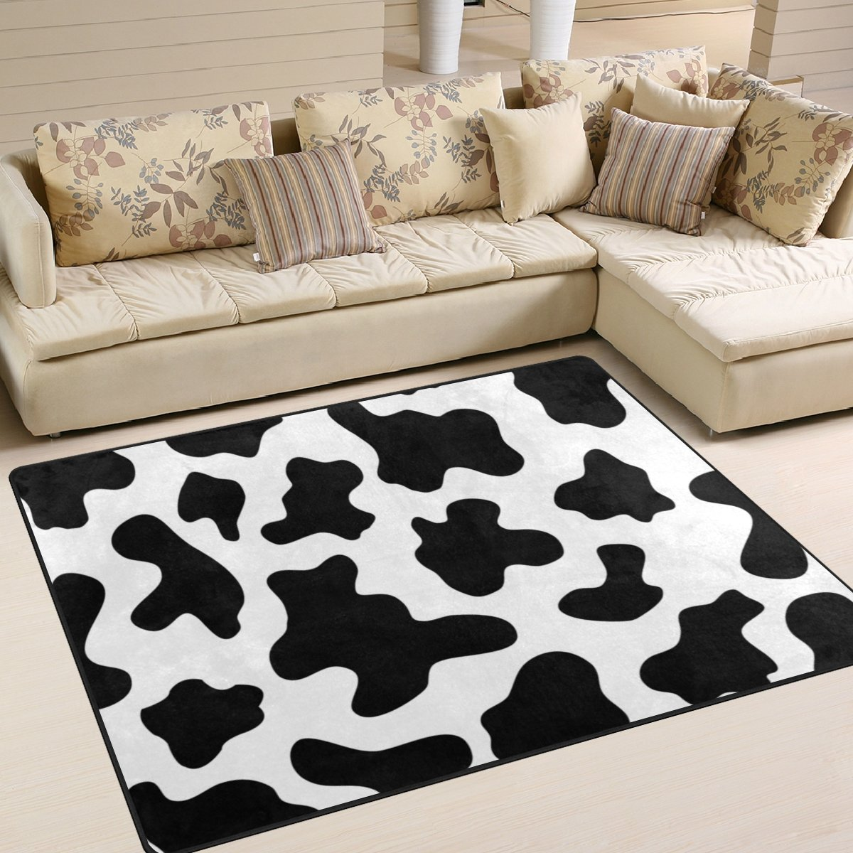 My Little Nest Black and White Cow Spot Kids Cartoon Area Rug 4'10'' x 6'8'' For Bedroom Dining Room Living Room Floor Mat Lightweight Carpet, Unique Anti Skid Indoor Outdoor Decor Soft Rug Carpets by My Little Nest (Image #2)