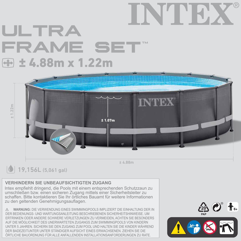 Intex 488x122 cm Schwimmbecken Swimming Pool Schwimmbad Ersatzpool ...
