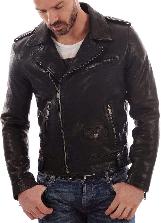 Travel Hide Mens Leather Jacket Motorcycle Genuine Lambskin Biker Jacket TM001