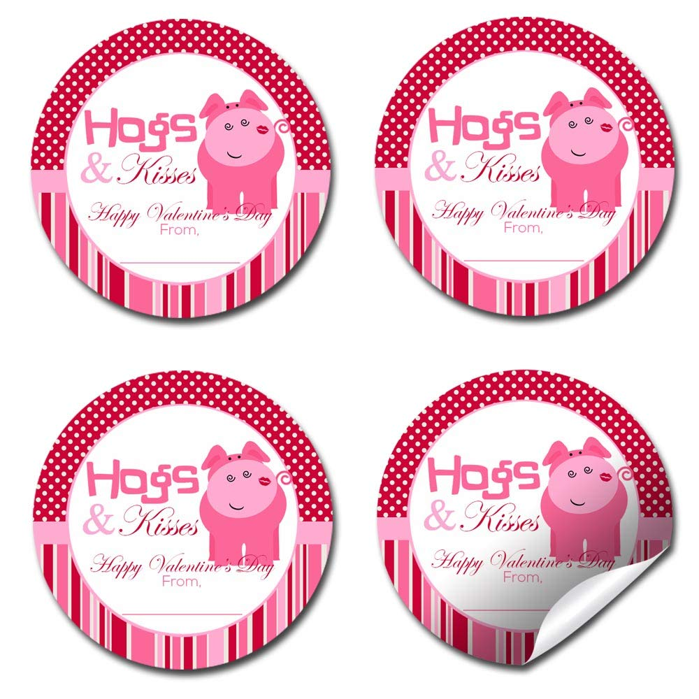 Gifts /& Treats Hogs And Kisses Pig-Themed Valentine Party Favor Sticker Labels for Girls Great for Classroom Valentines Envelope Seals 40 2 Party Circle Stickers by AmandaCreation