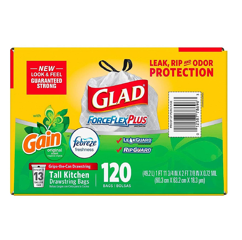 Amazon.com: Glad ForceFlex Tall Kitchen 13 Gallon Trash Bag With Odor Shield, Gain Original Scent (120 count): Home & Kitchen