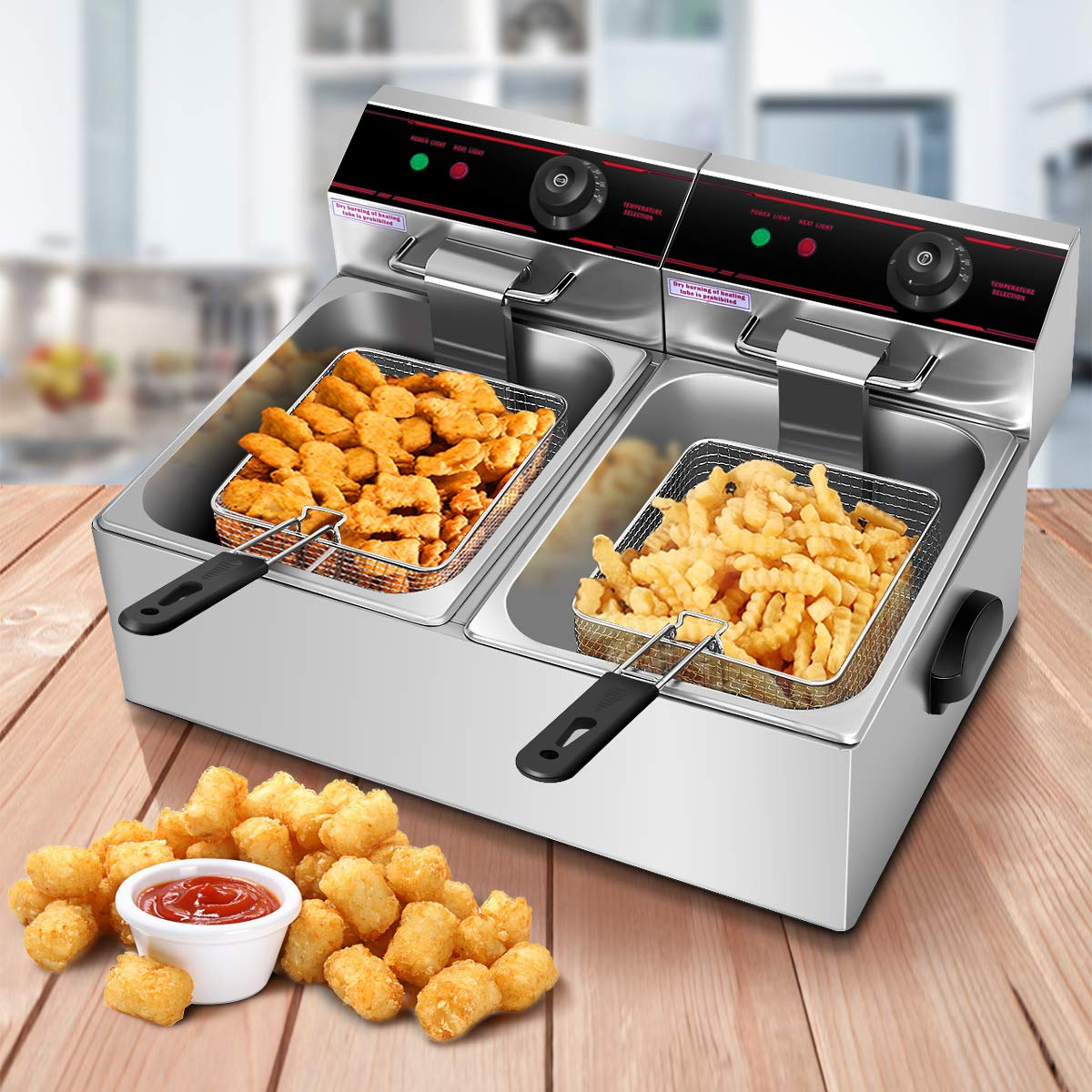 Safstar Professional Electric Deep Fryer, Stainless Steel Chicken Chips Fryer with Basket Scoop for Commercial Restaurant Countertop Family Food Cooking (Dual Tank)