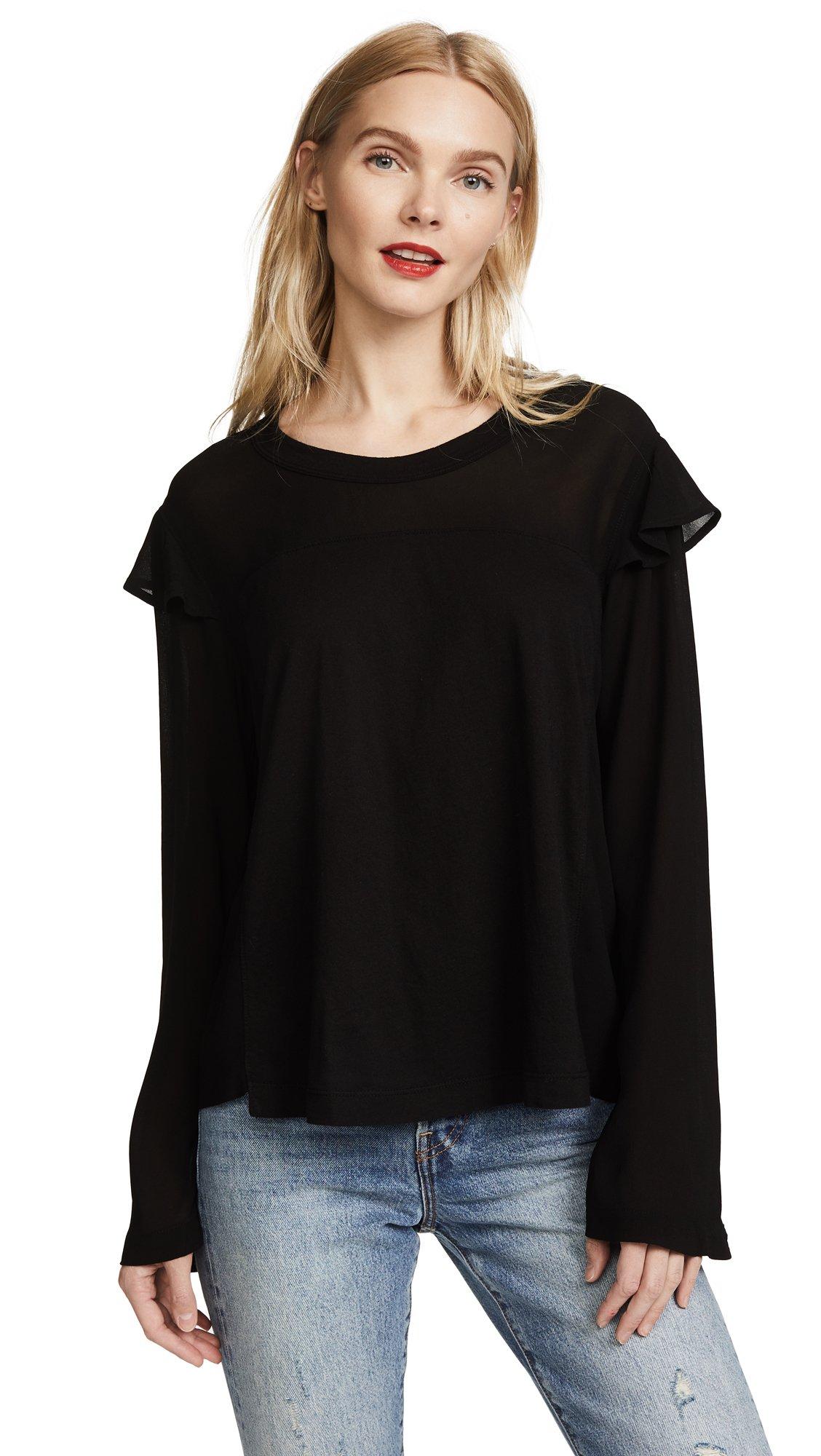 Wilt Women's Georgette Layer Sleeve Tee, Black, X-Small