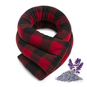 Sunny Bay Neck Heating Wrap, Heat Therapy Pad for Neck & Shoulder Muscle Pain Relief–Thermal, Reusable, Non Electric, Buffalo Plaid Red, Medium, Lavender-Scented