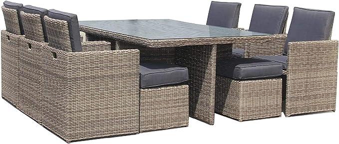 Luxurygarden – Mesa 10 Plazas con 6 sillones de Rattan Muebles de jardín de Exterior o Piscina Andresa: Amazon.es: Hogar