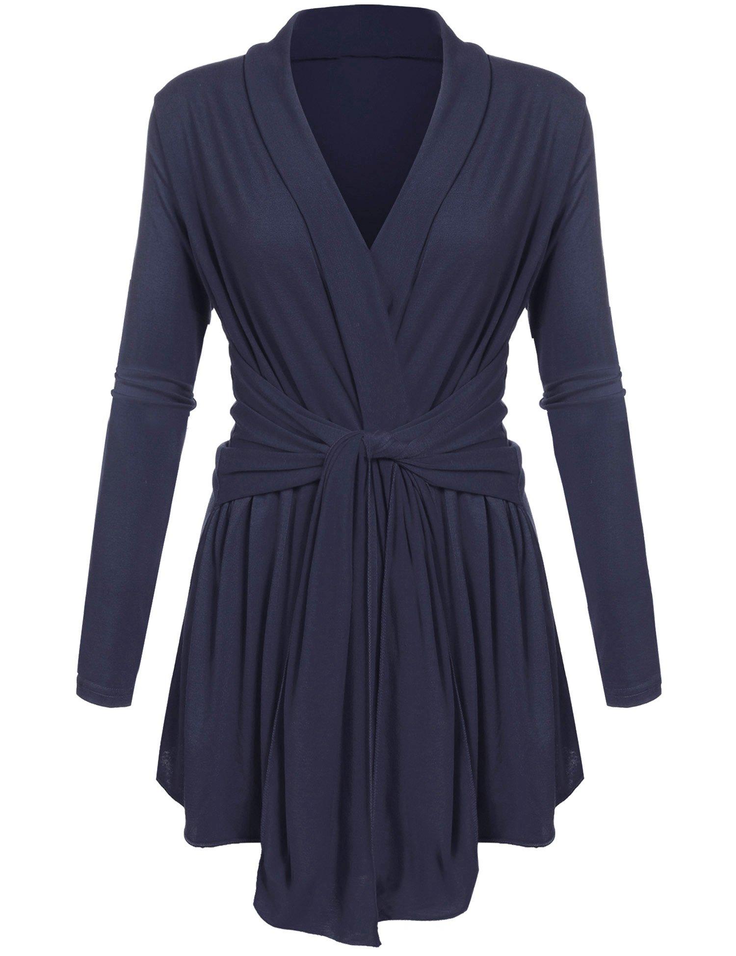 Beyove Women's Long Sleeve Travel Lightweight Cardigan Drape Soft Knit Open Front Cardigan Sweater Plus Size