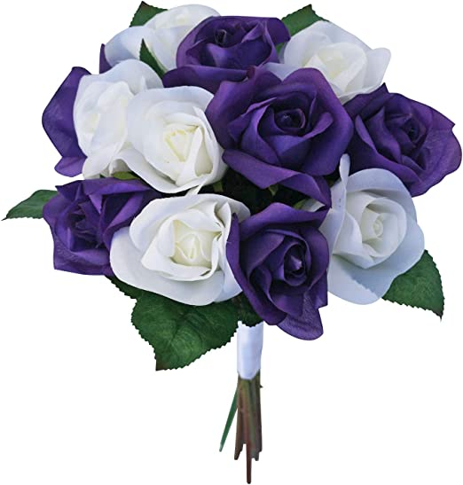 Amazon Com Purple Ivory Garden Rose Stem Fake Flower Bouquet