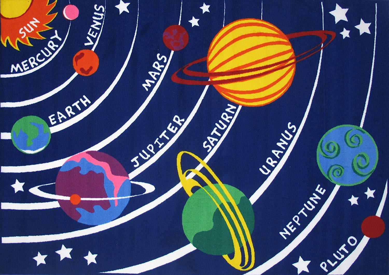 "Kids Educational Galaxy Planets Stars Rug Blue Solar System Fun Rug Children Area Rug for Playroom & Nursery - Non Skid Gel Backing (39'' x 59"") by HUAHOO"