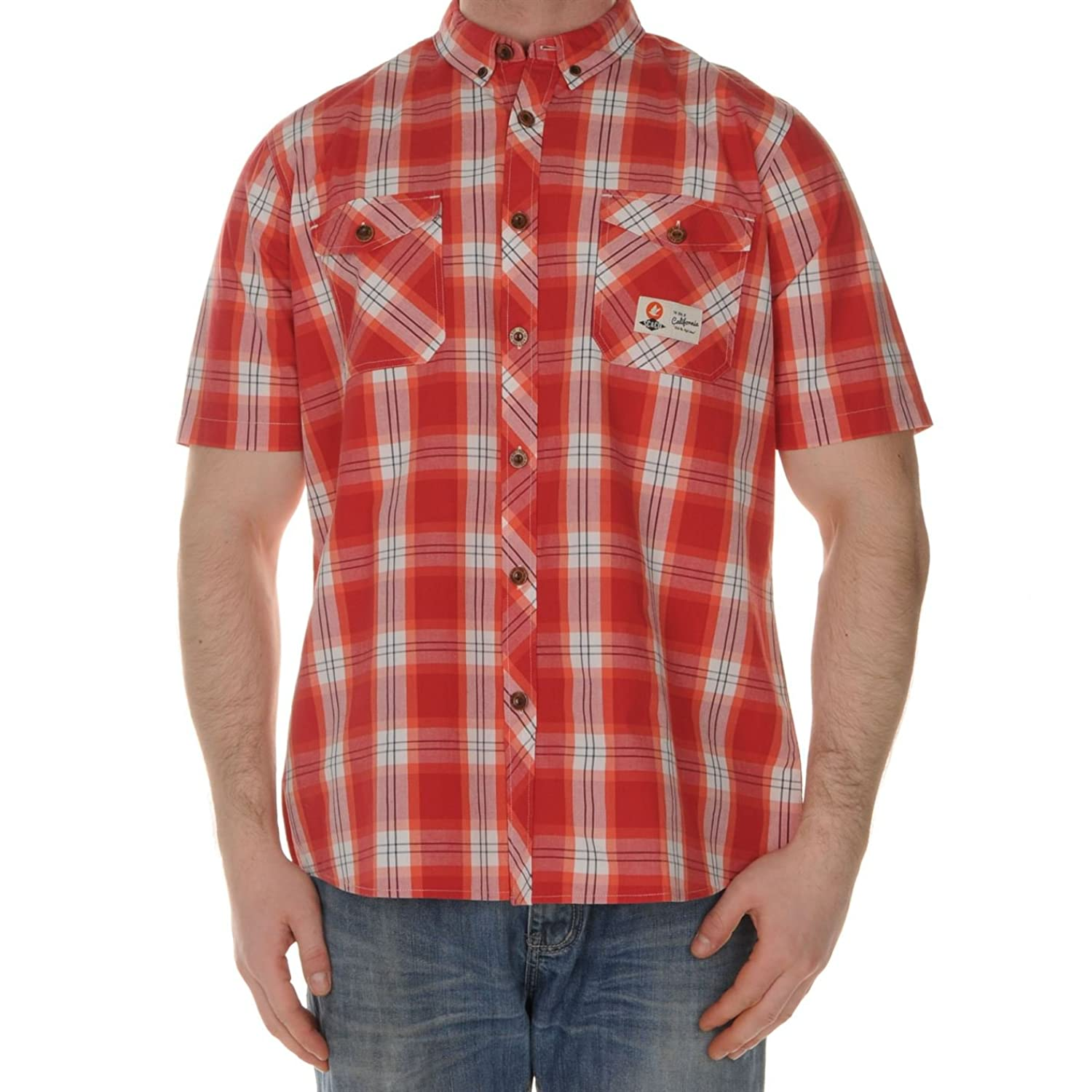 Soulcal Mens Newport Shirt Tee Top Short Sleeves Button Down Checked Casual