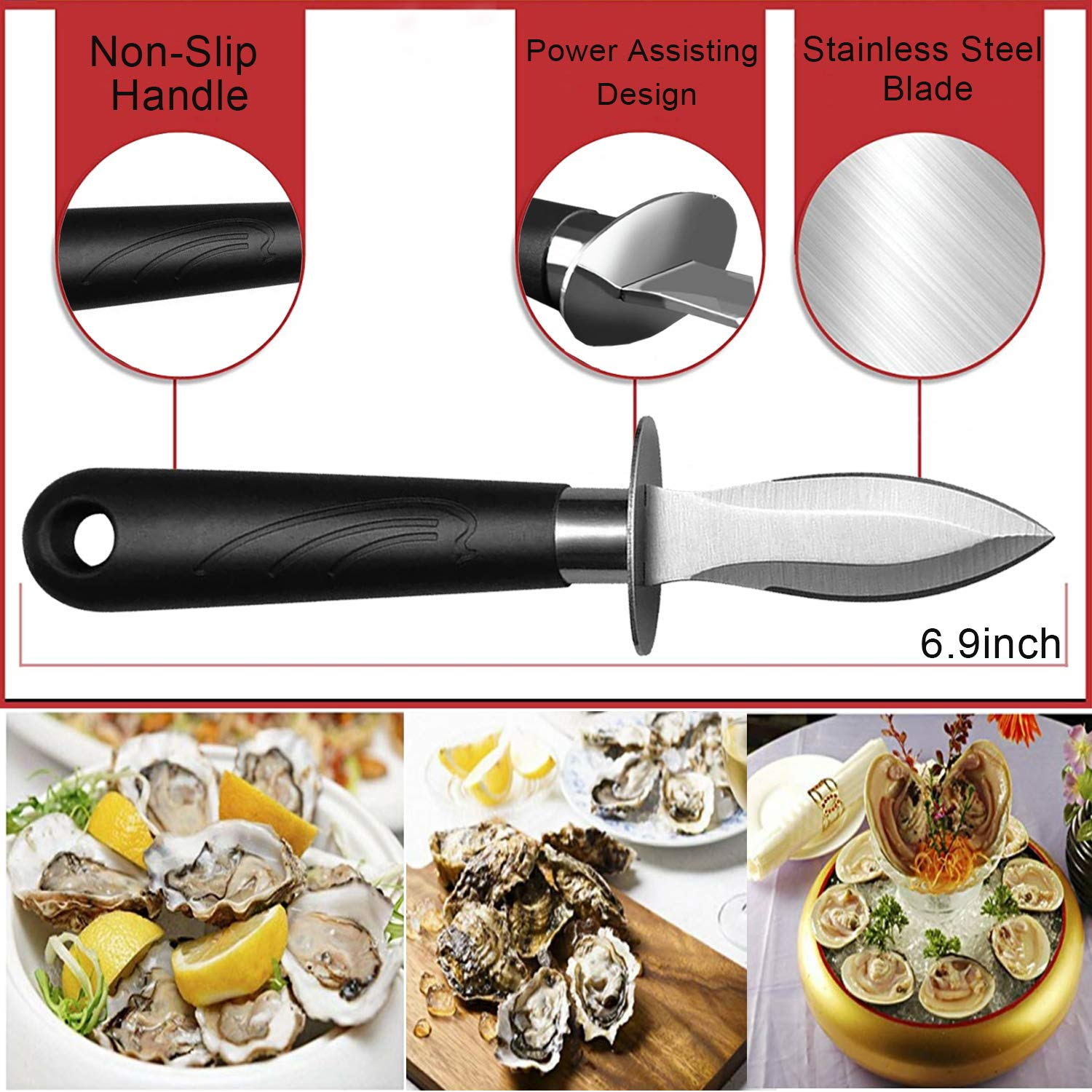 WENDOM Oyster Knife Shucker Set Oyster Shucking Knife and Gloves Cut Resistant Level 5 Protection Seafood Opener Kit Tools Gift(2knifes+1Glove) by WENDOM (Image #2)