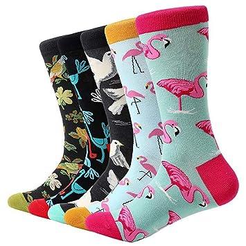 FHCGWZ 5 unids/Set Calcetines de Dibujos Animados de algodón de algodón Animal pájaro Colorido Calcetines Largos Divertido calcetín para Hombres Vestido ...