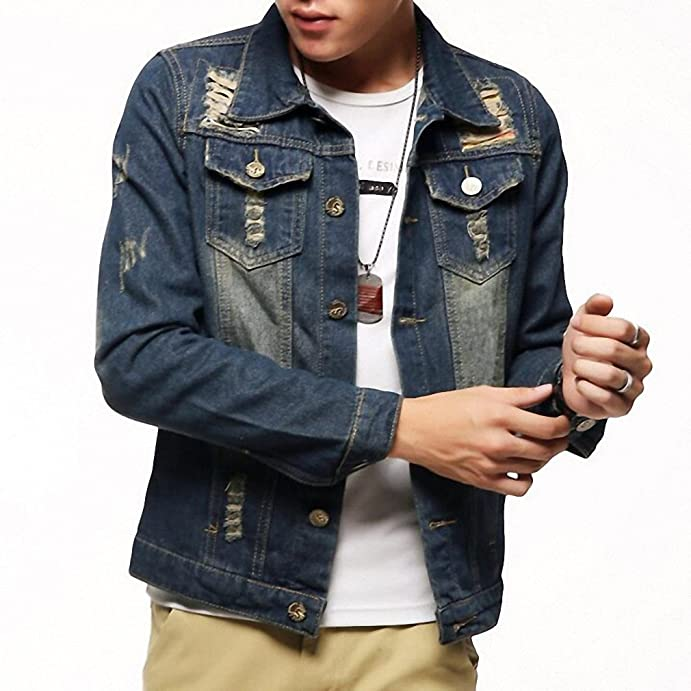 Mens Denim Jacket Stand Collar Four Season Casual Solid Chaquetas Hombre M-3XL Size MWJ1247 at Amazon Mens Clothing store:
