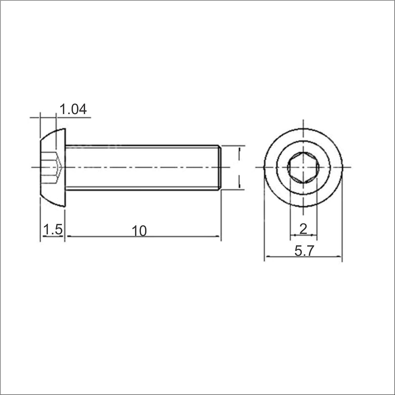 100pcs 304 Stainless Steel ISO7380 Allen Hex Socket Head Button Head Cap Screws Bolts M3 M4 M5 M6 x 5mm~25mm M4, 18mm