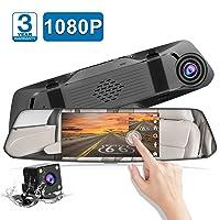 Amazon.com deals on Chortau 5-inch Mirror Touch Screen Full HD 1080p Dual Dash Cam