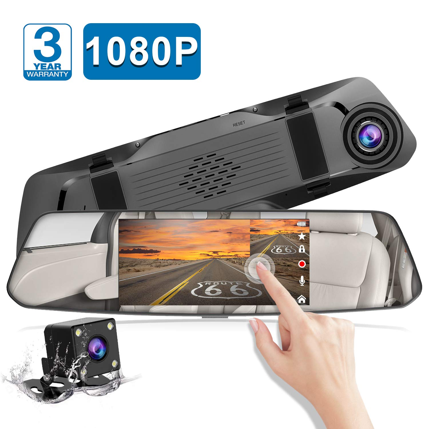 Backup Camera 5'' Mirror Dash Cam Touch Screen Full HD 1080P CHORTAU Dual Dash Cam Front and Rear with Waterproof Rear View Camera with Loop Recording and Parking Monitor