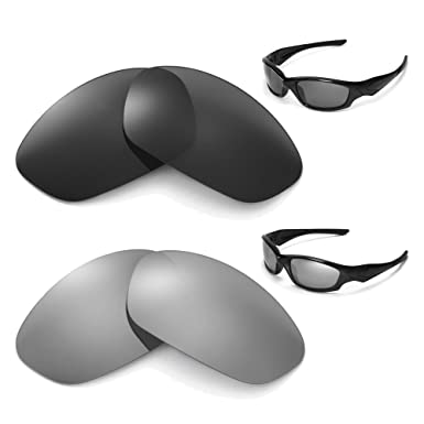 69d68f6649 Image Unavailable. Image not available for. Color  New Walleva Polarized  Titanium+Black Lenses For Oakley Straight Jacket