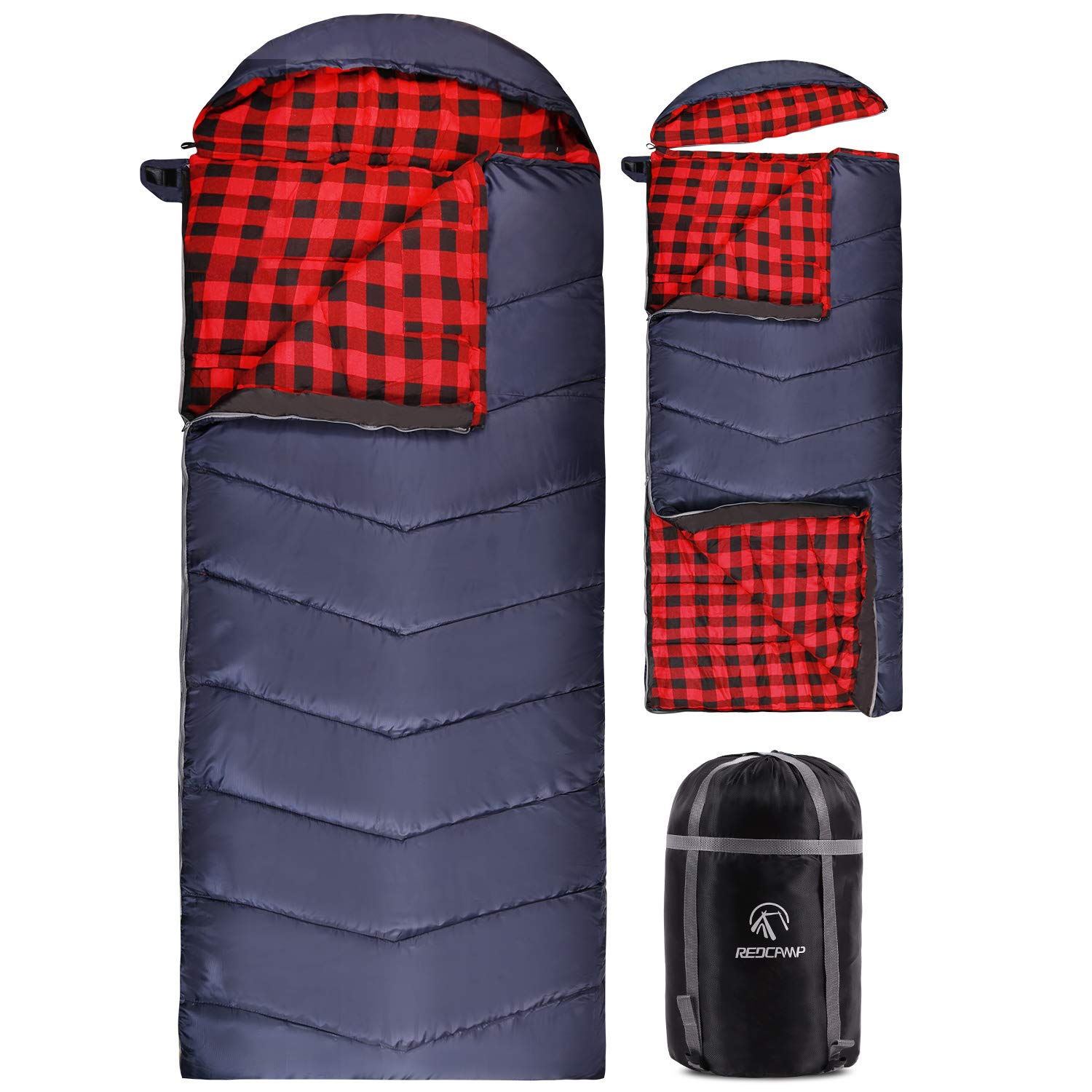 REDCAMP Flannel Sleeping Bag for Adults, Large Cotton Sleeping Bags for Camping with Detachable Hood, Red Plaid with 3lbs Filling (91''x33'') by REDCAMP