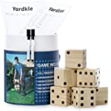 SPORT BEATS Giant Wooden Yard Dice Set of 6 with Yardzee and Yardkle Rules for Yard Outdoor Games Includes Carry Bag Choose Y