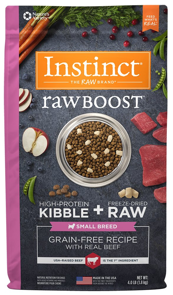 Instinct Raw Boost Small Breed Grain Free Recipe with Real Beef Natural Dry Dog Food by Nature's Variety, 4 lb. Bag