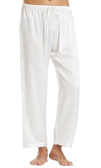 chaussures élégantes prix le plus bas grande remise LILYSILK Bas de Pyjama Homme Soie Véritable Pantalon Fluide Uni Classique  22MM