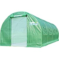 Quictent Upgraded 20€™x10€™x7€™ Portable Greenhouse 2 Zipper Mesh Doors 7 Crossbars Large Walk-in Heavy Duty Green Gardening Plant Hot Outdoor House +20 Stakes 4 Ropes