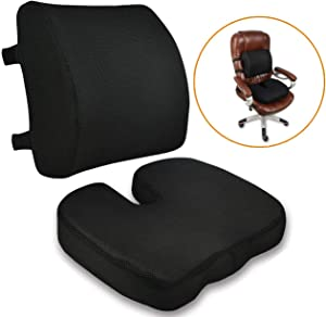 Orthopedic Office Chair Memory Foam Lumbar Support & Coccyx Seat Cushion with Adjustable Dual Strap, Handle, Removable Mesh Cover for Wheelchair, Car Seat, Pregnancy, Tailbone Pain Relief, Black