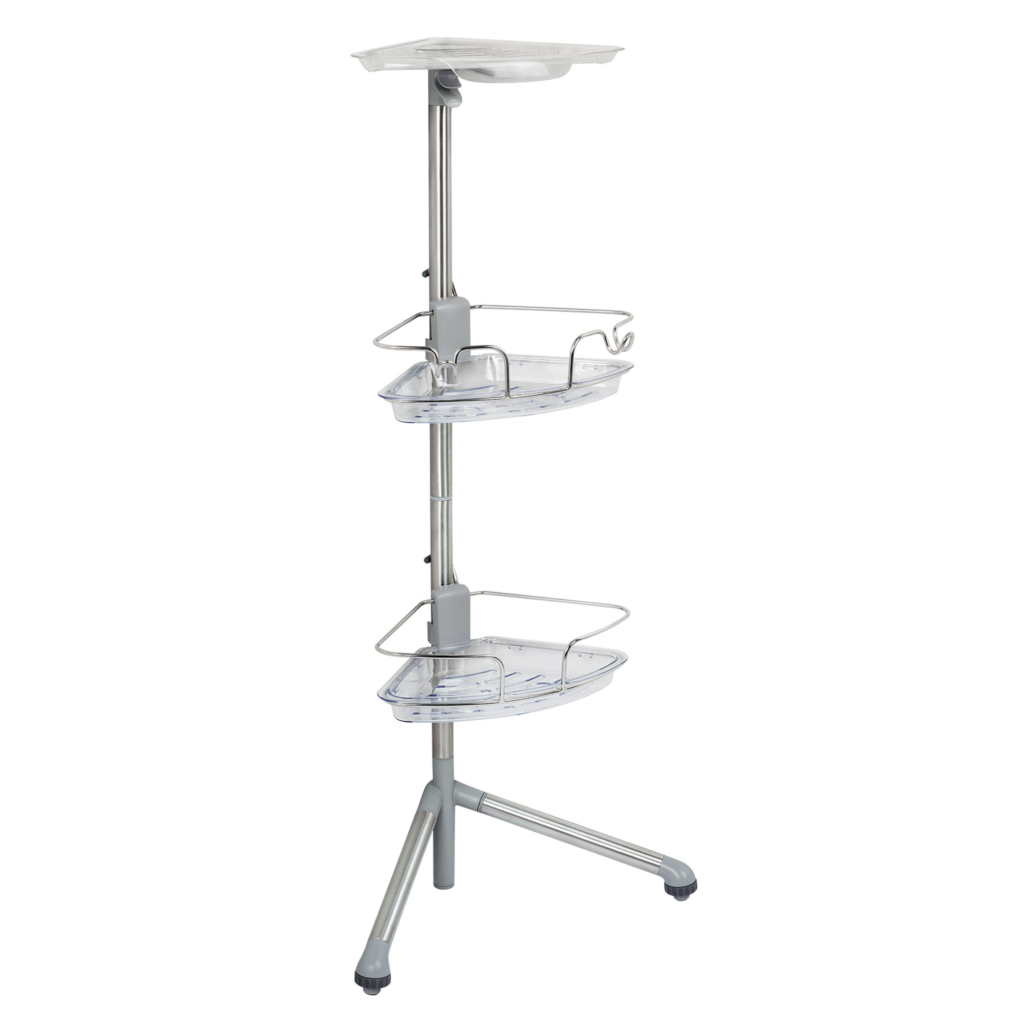 OXO Good Grips Stainless Steel Corner Standing Shower Caddy, 3 ft Tall