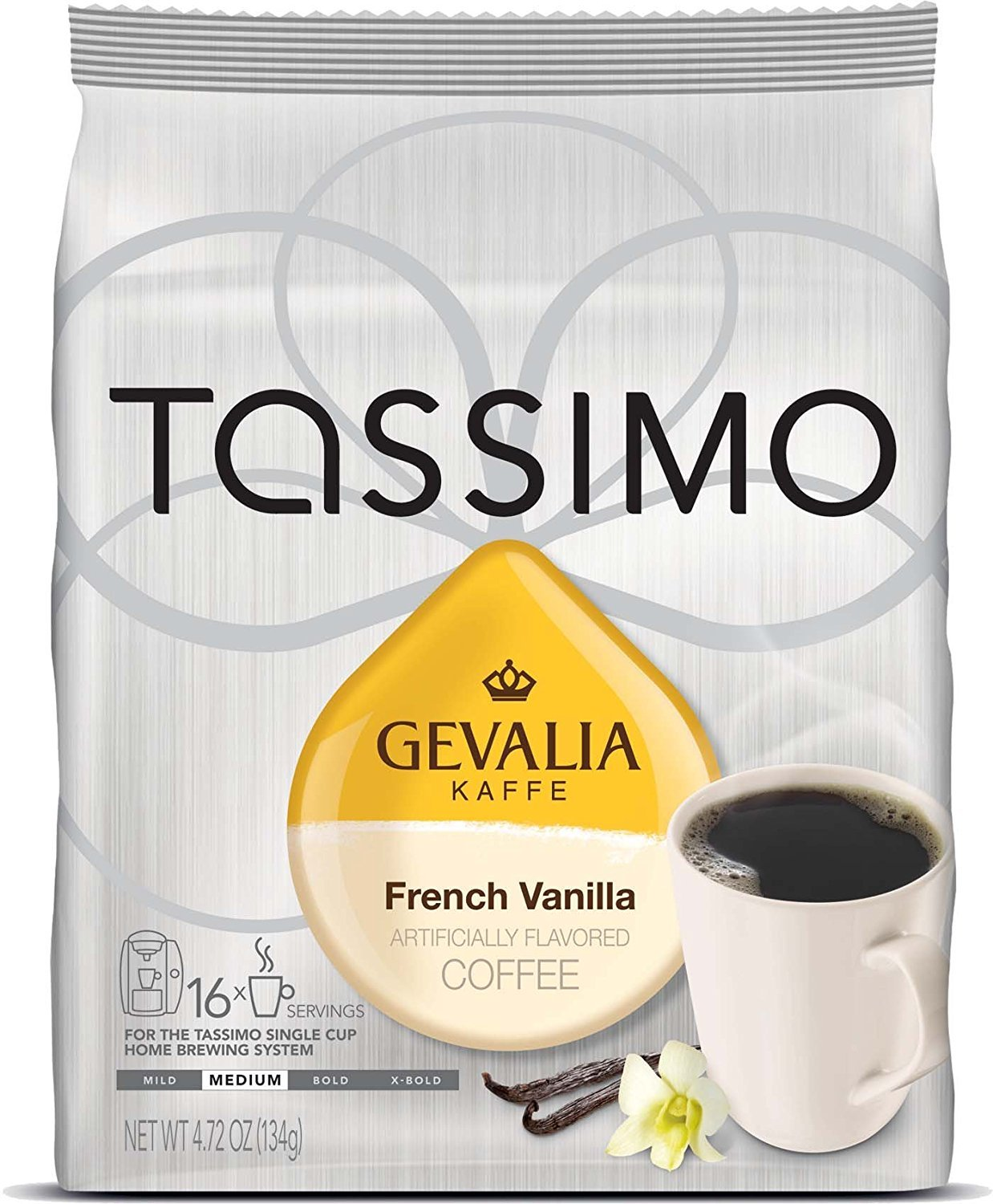 Gevalia French Vanilla Flavored Coffee, T-Discs for Tassimo Brewing Systems, 16 Count 00043000035818