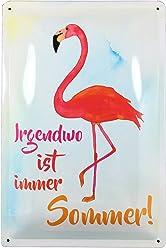 AnneSvea Flamingo - Irgendwo ist Immer Sommer Blechschild Metall Wohnwagen Vintage Deko Vanlife Camper Bus Womo Aquarell