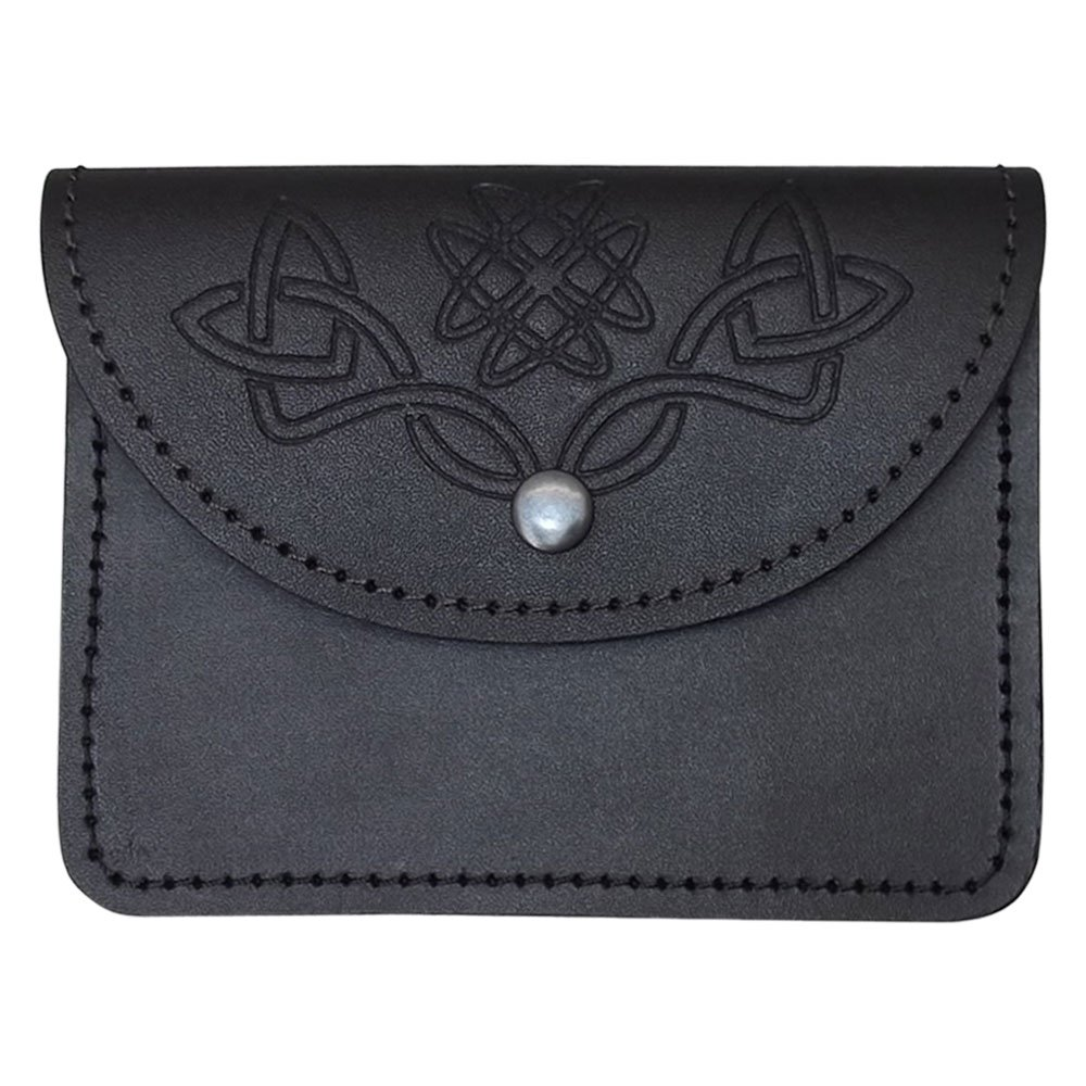 Scottish Celtic Embossed Black Leather Belt Pouch Sporran Bag Piper Drummer AAR Products